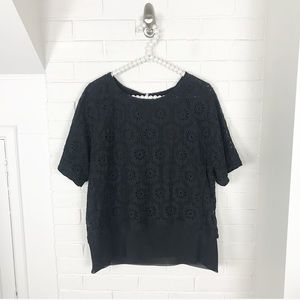 {Banana Republic} Crotchet Short Sleeve Blouse